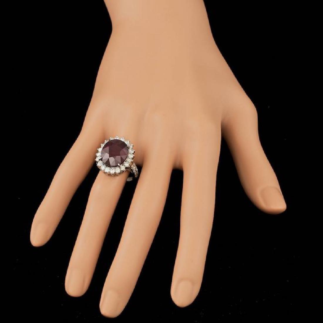 14k White Gold 12.50ct Ruby 1.50ct Diamond Ring - 4