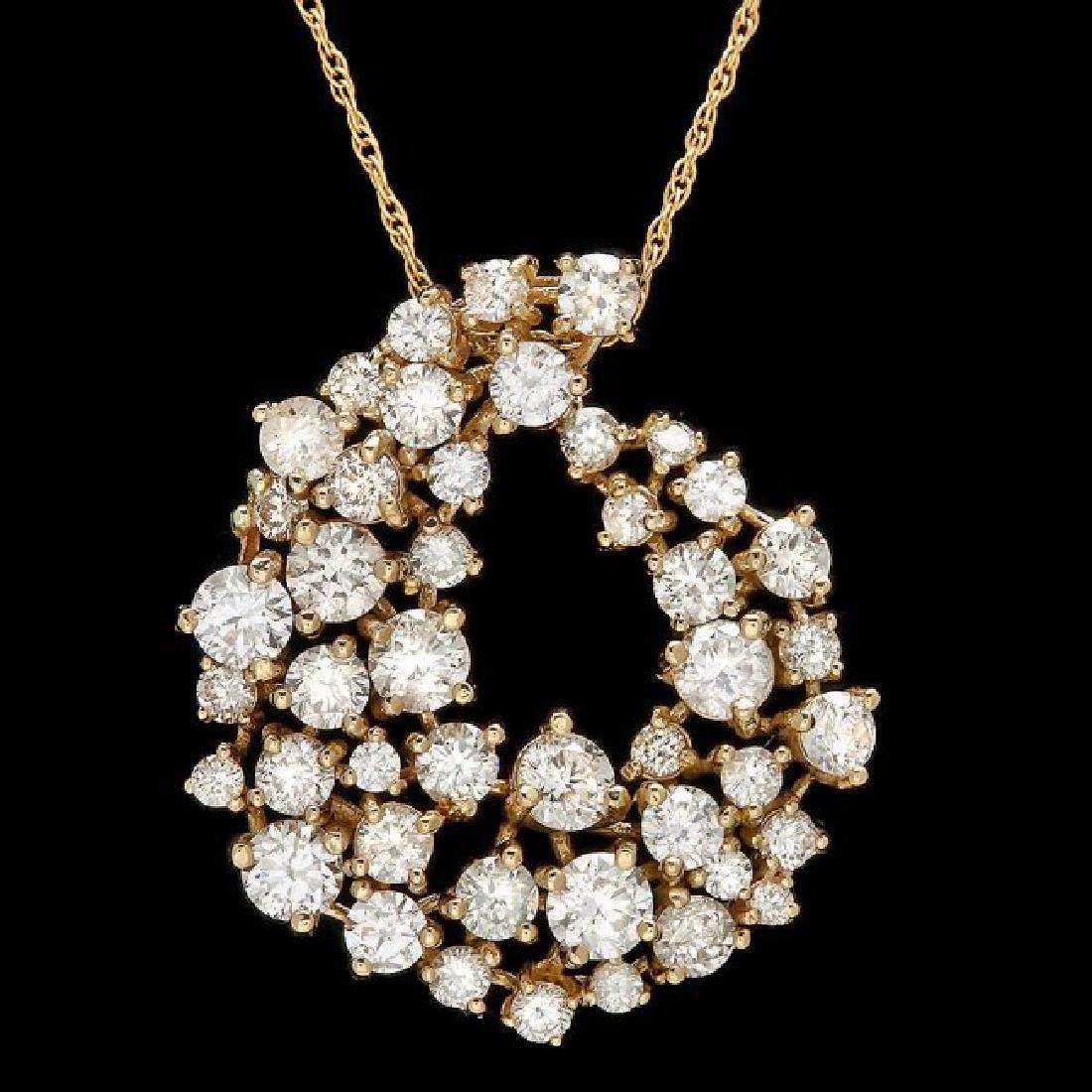 14k Yellow Gold 2.70ct Diamond Pendant