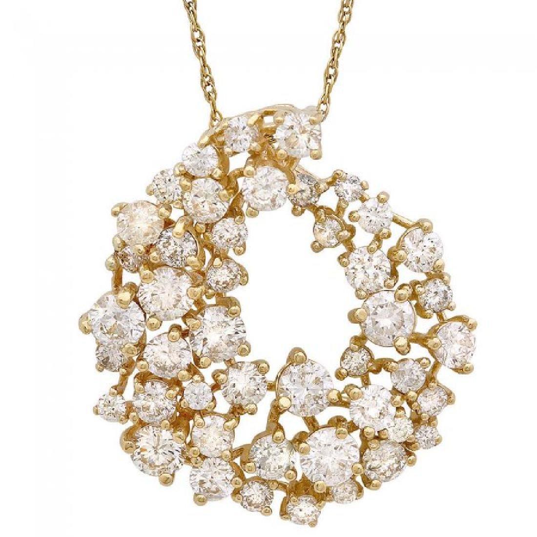 14k Yellow Gold 2.70ct Diamond Pendant - 2