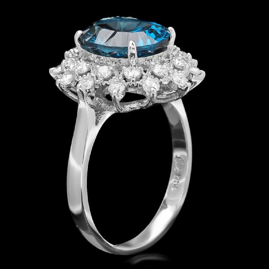 14k White Gold 4.20ct Topaz 0.75ct Diamond Ring - 2
