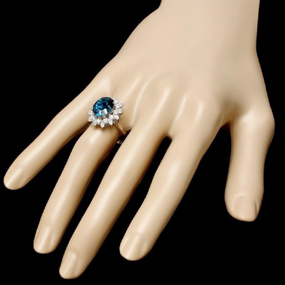 14k White Gold 4.20ct Topaz 0.75ct Diamond Ring - 3