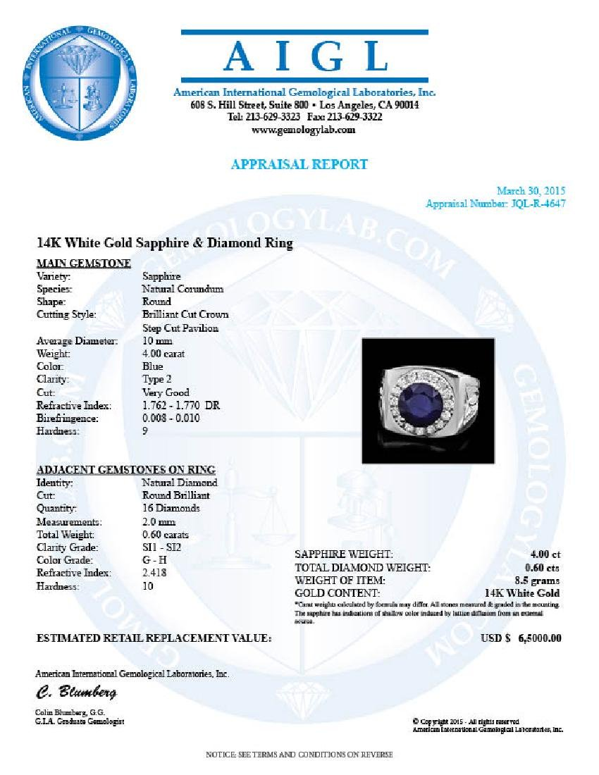 14k Gold 4.00ct Sapphire 0.60ct Diamond Mens Ring - 4