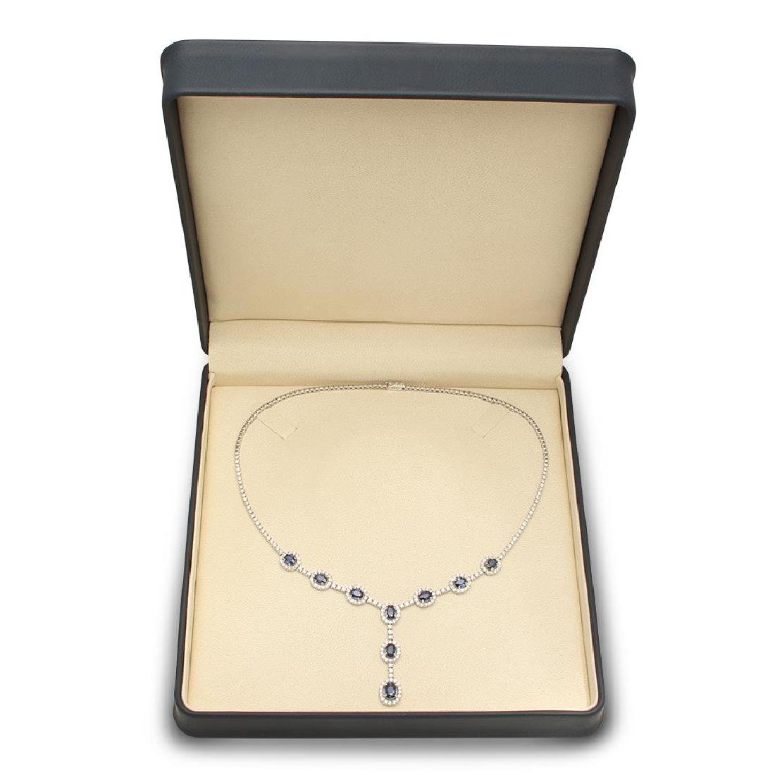 14K Gold 5.02ct Sapphire 5.67cts Diamond Necklace - 4
