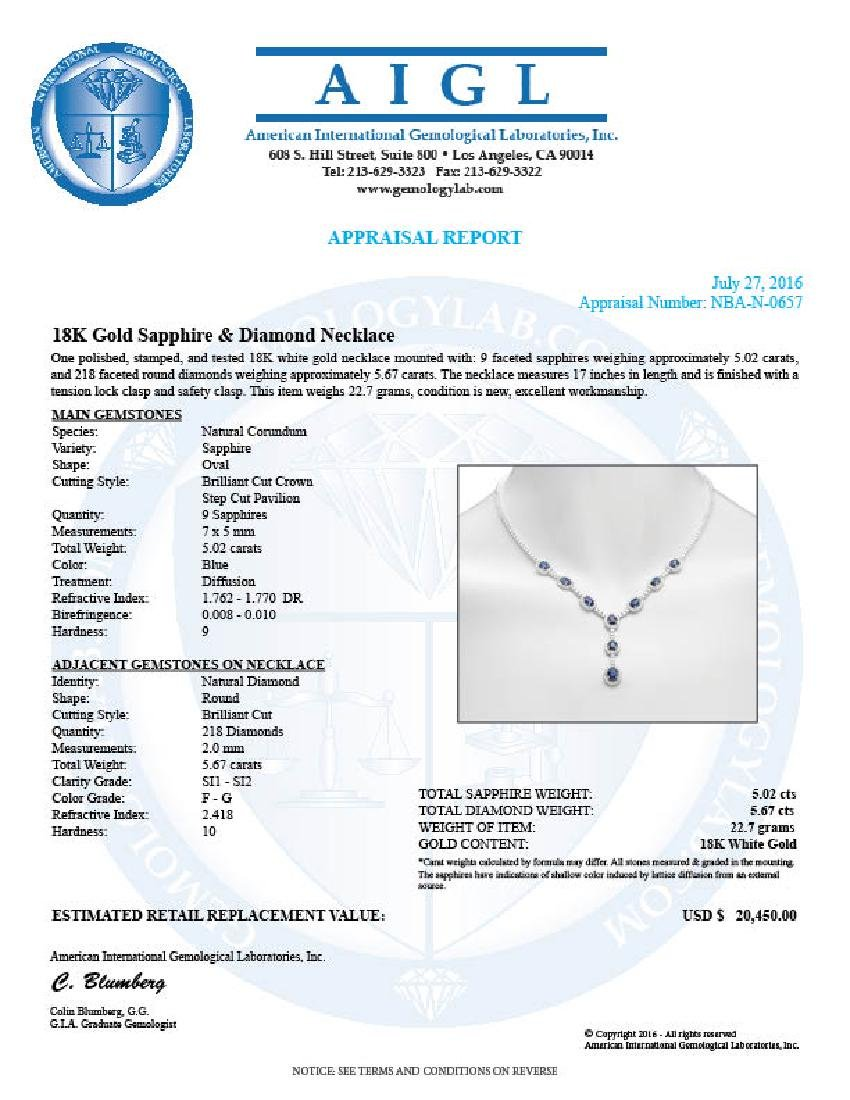 14K Gold 5.02ct Sapphire 5.67cts Diamond Necklace - 5