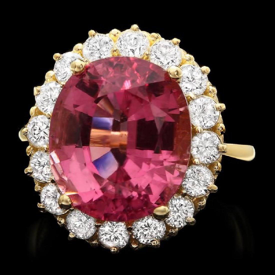 14k Gold 10.50ct Tourmaline 1.50ct Diamond Ring