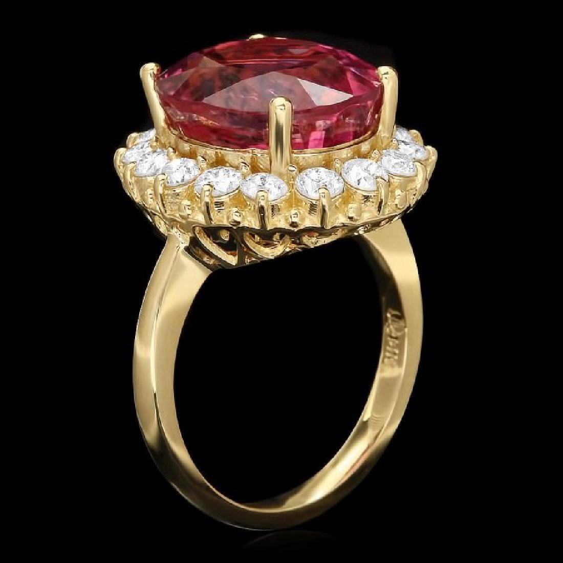 14k Gold 10.50ct Tourmaline 1.50ct Diamond Ring - 2