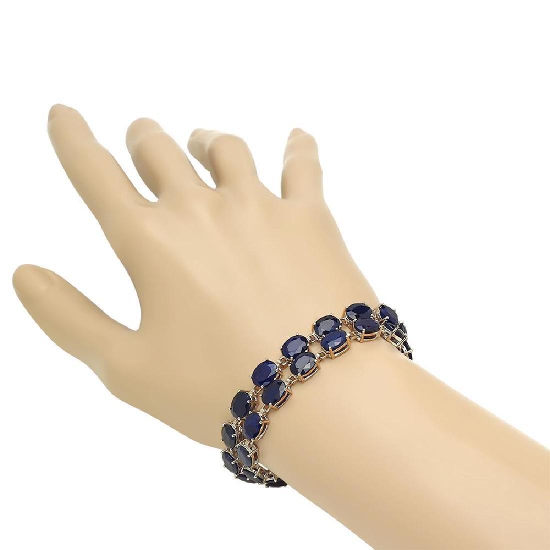 14K Gold 52.06ct Sapphire 0.63ct Diamond Bracelet - 2