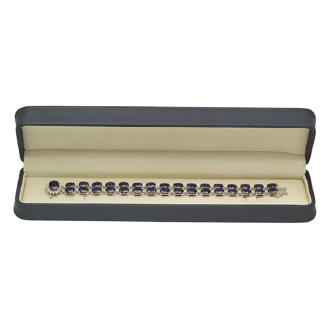 14K Gold 52.06ct Sapphire 0.63ct Diamond Bracelet - 3