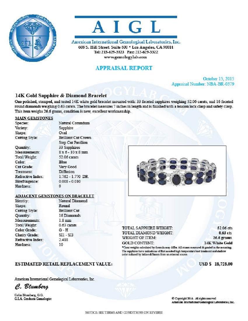 14K Gold 52.06ct Sapphire 0.63ct Diamond Bracelet - 4
