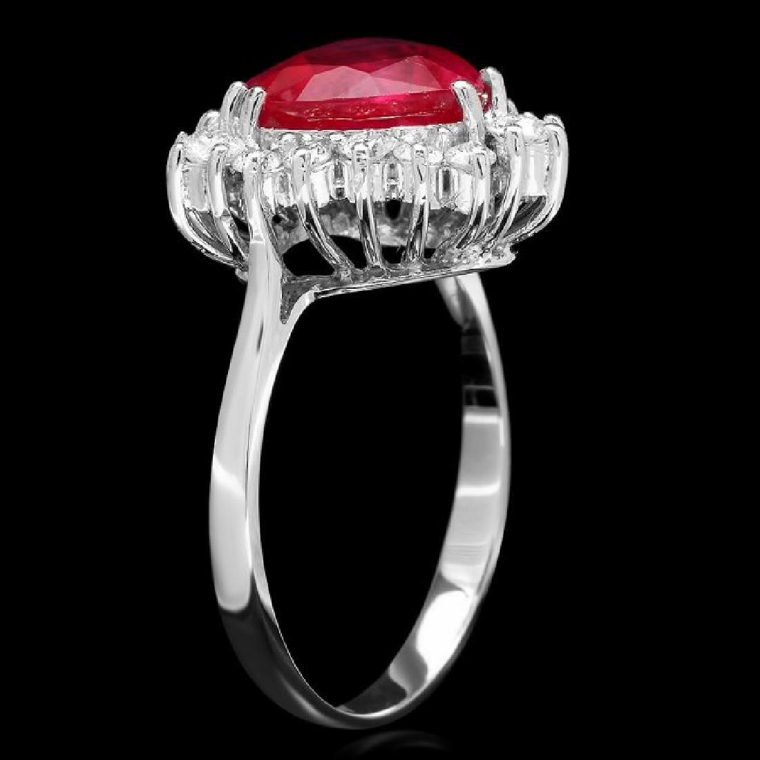 14k White Gold 2.50ct Ruby 0.60ct Diamond Ring - 2