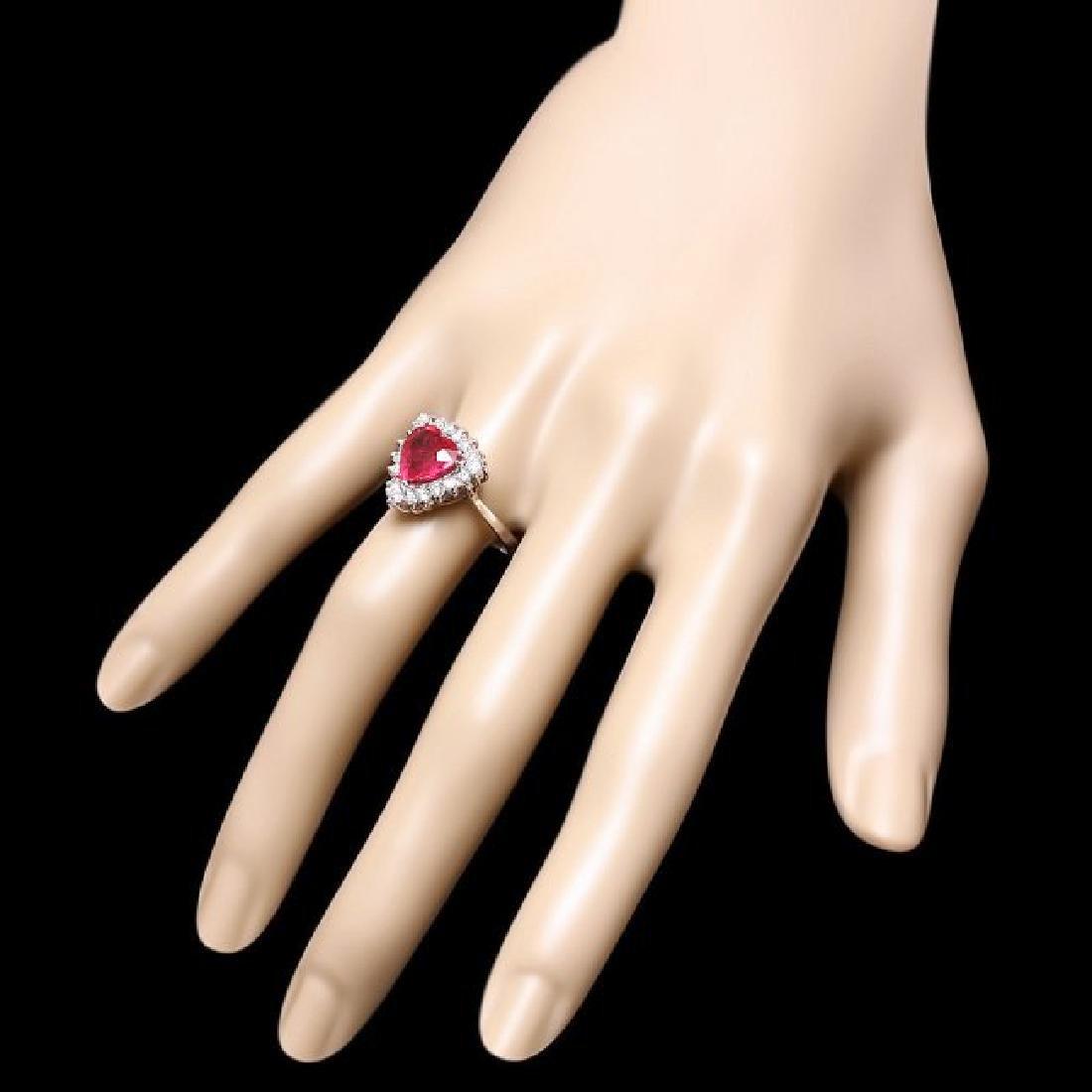 14k White Gold 2.50ct Ruby 0.60ct Diamond Ring - 3
