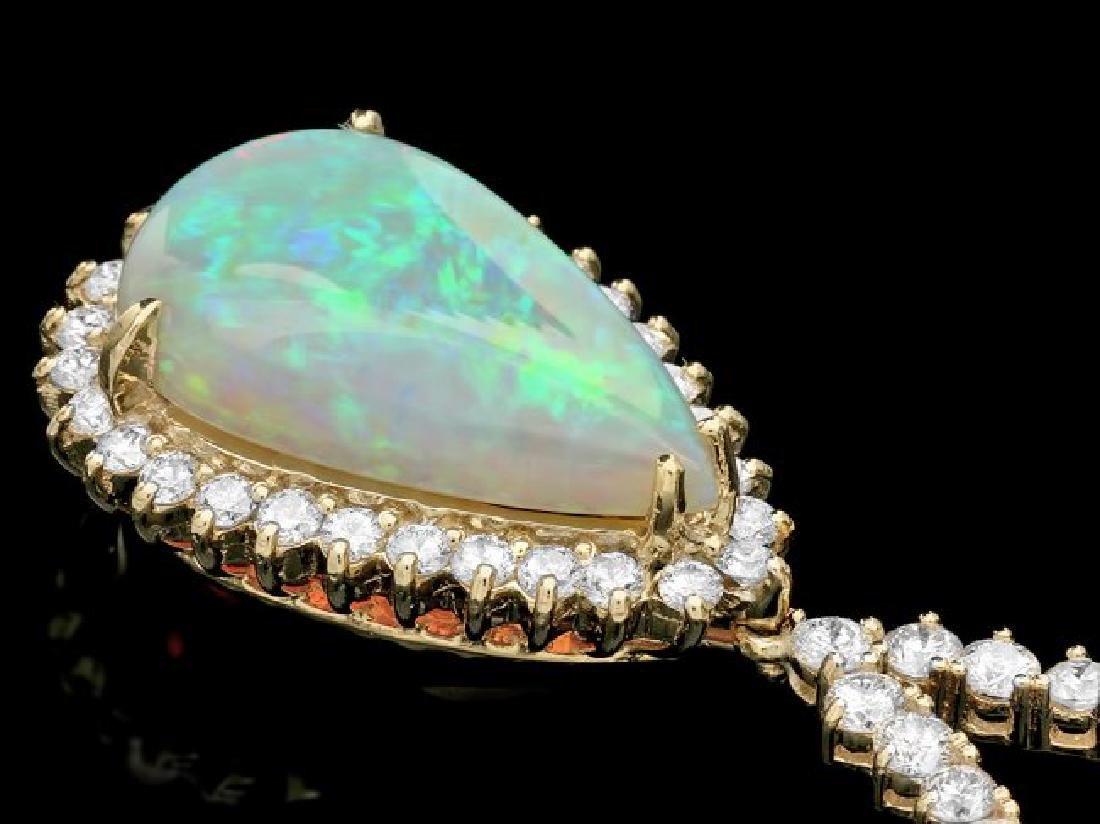 14k Gold 9.00ct Opal 6.50ct Diamond Pendant