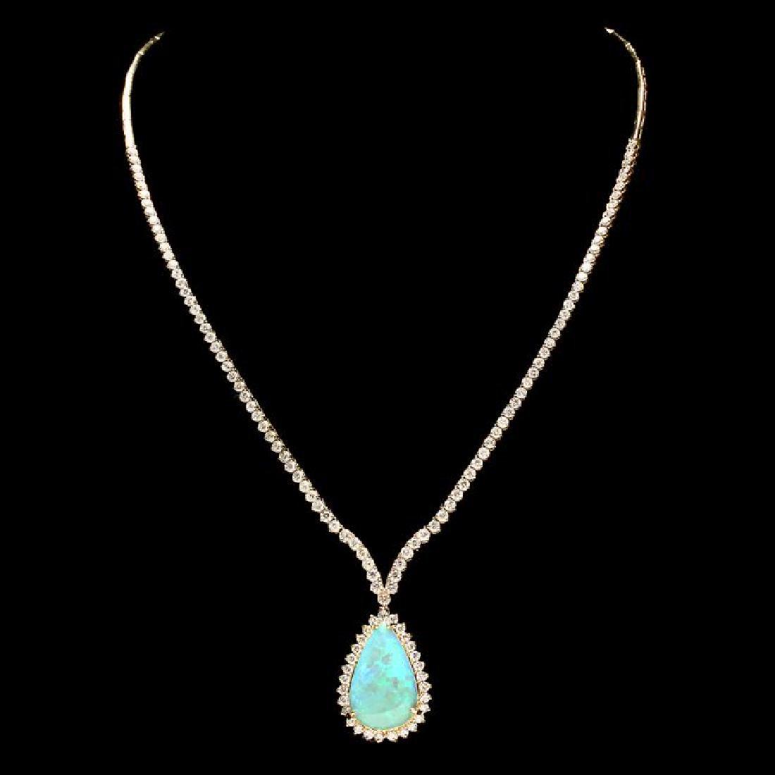 14k Gold 9.00ct Opal 6.50ct Diamond Pendant - 2