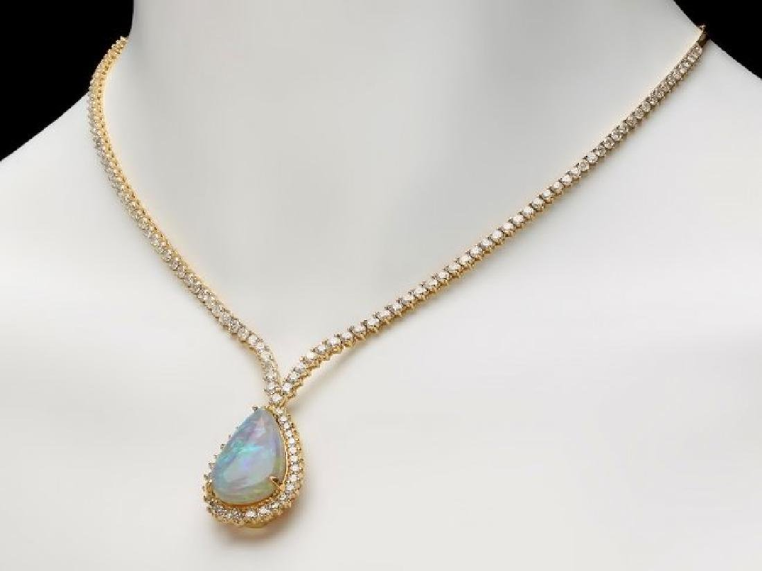 14k Gold 9.00ct Opal 6.50ct Diamond Pendant - 4