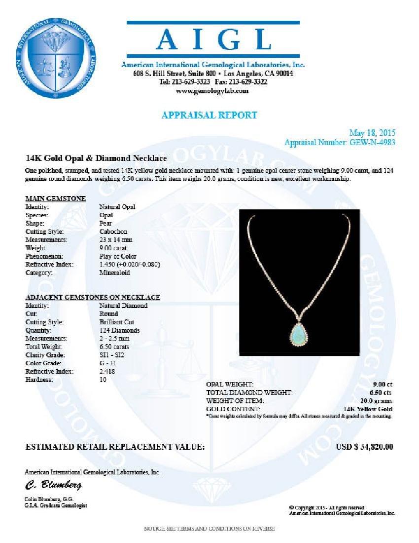 14k Gold 9.00ct Opal 6.50ct Diamond Pendant - 6