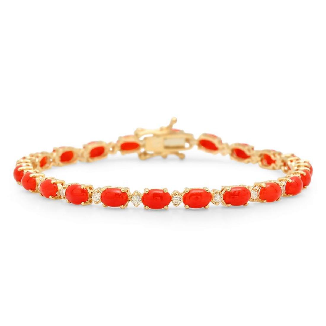 14K Gold 10.66ct Coral 0.48cts Diamond Bracelet