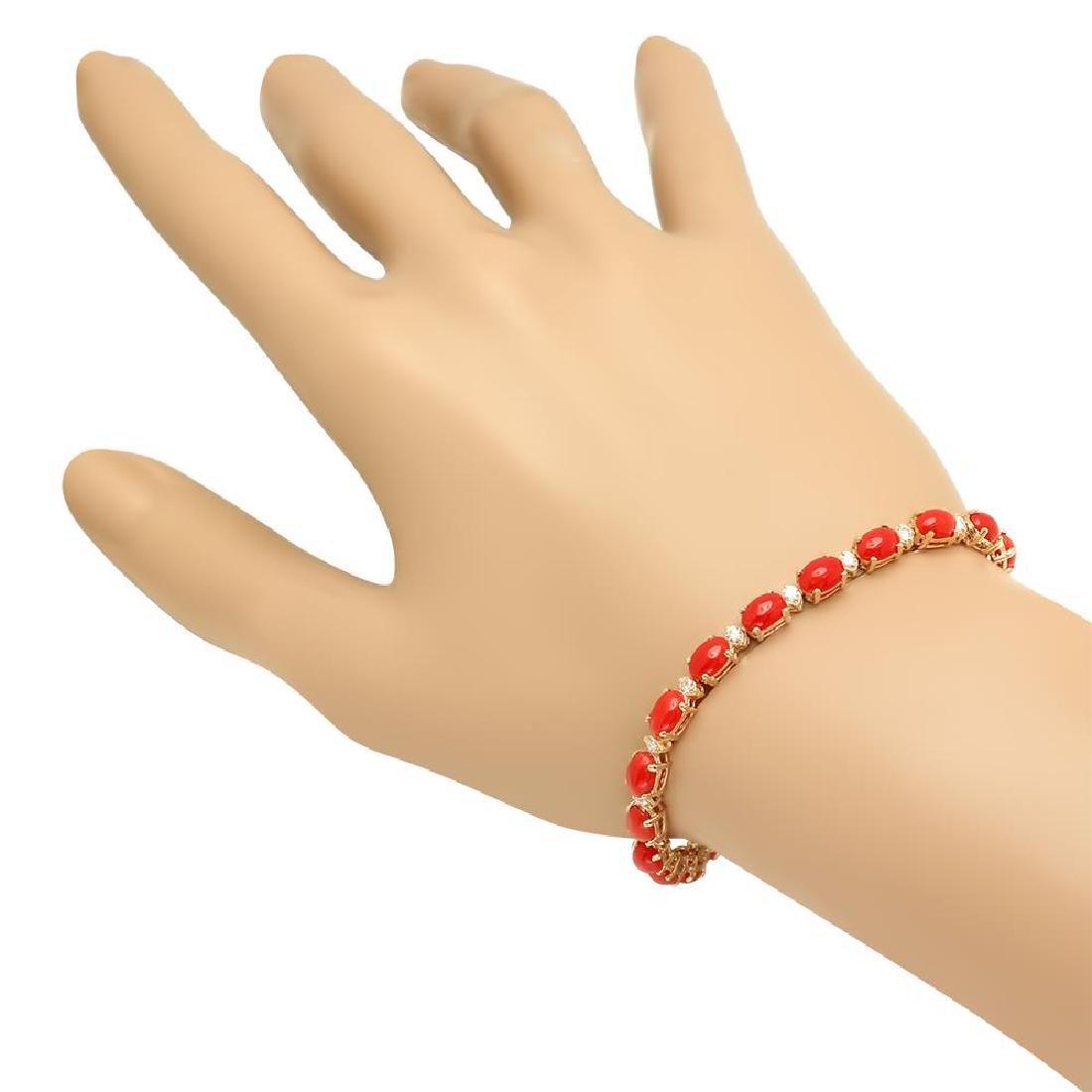 14K Gold 10.66ct Coral 0.48cts Diamond Bracelet - 2