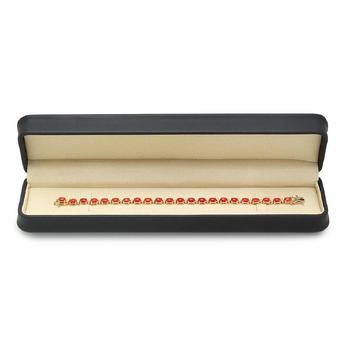 14K Gold 10.66ct Coral 0.48cts Diamond Bracelet - 3