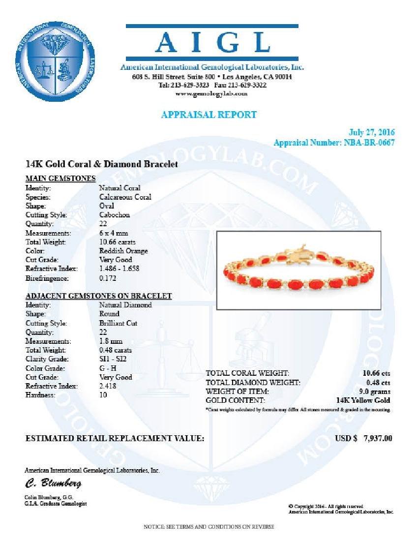14K Gold 10.66ct Coral 0.48cts Diamond Bracelet - 4