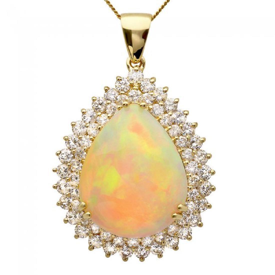 14k Gold 16.00ct Opal 3.50ct Diamond Pendant - 2