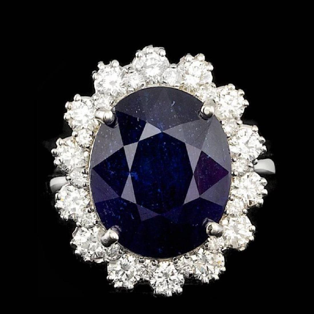 14k Gold 11.00ct Sapphire 1.47ct Diamond Ring