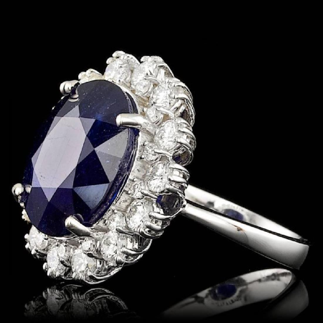 14k Gold 11.00ct Sapphire 1.47ct Diamond Ring - 2