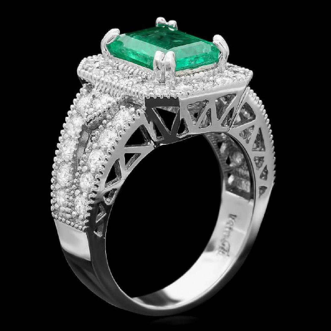 14k White Gold 2.00ct Emerald 1.30ct Diamond Ring - 2