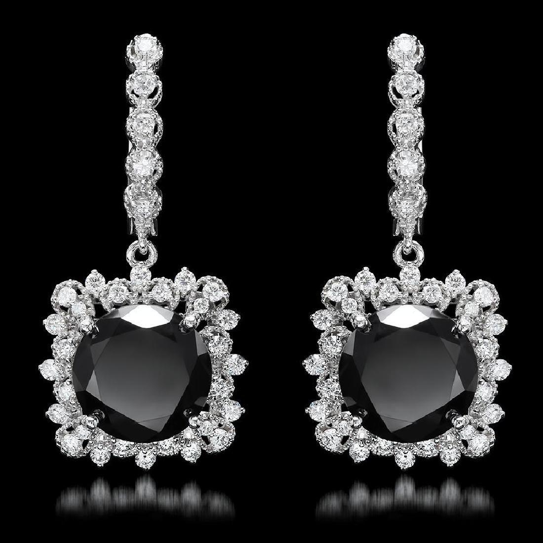 14k White Gold 13.88ct Diamond Earrings