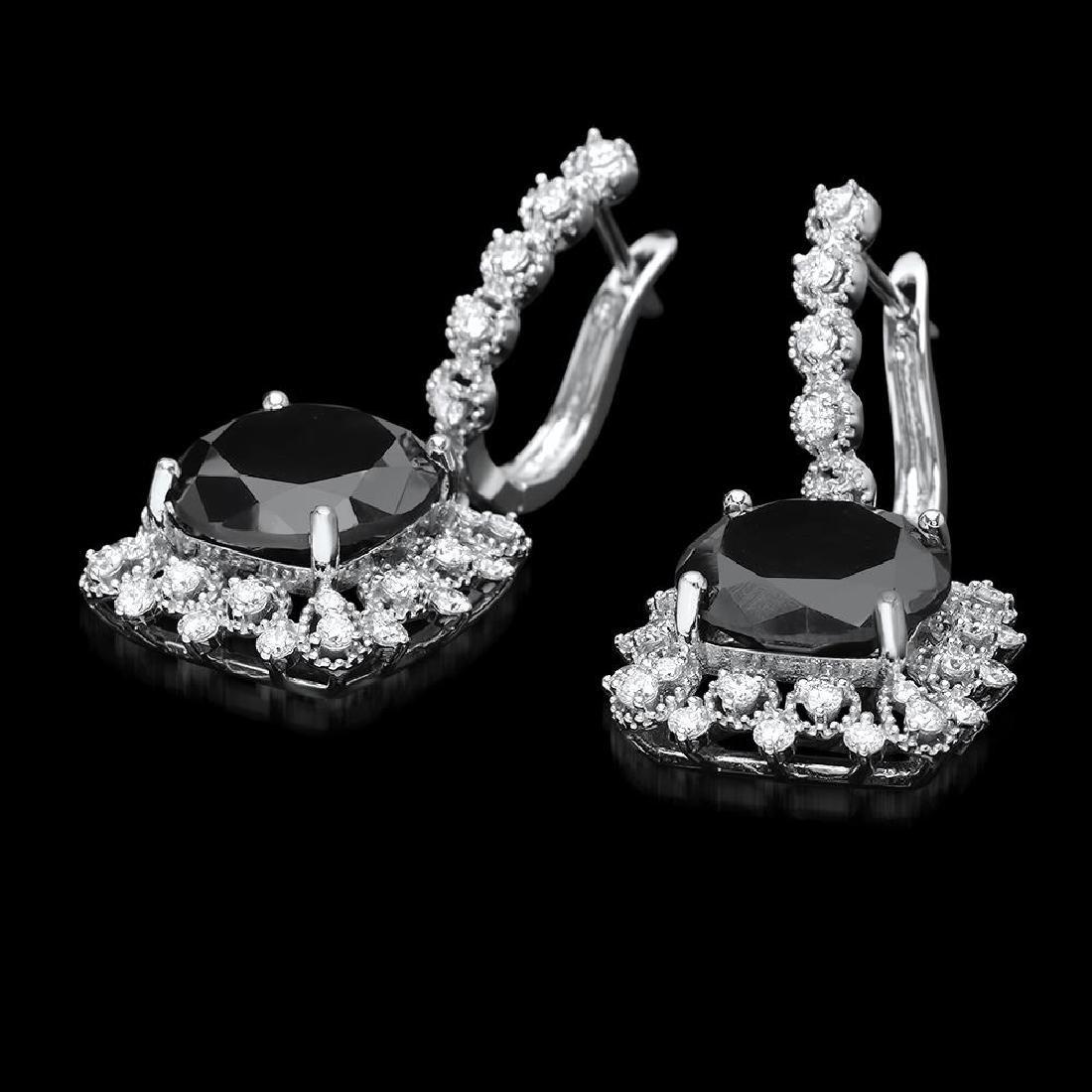 14k White Gold 13.88ct Diamond Earrings - 2
