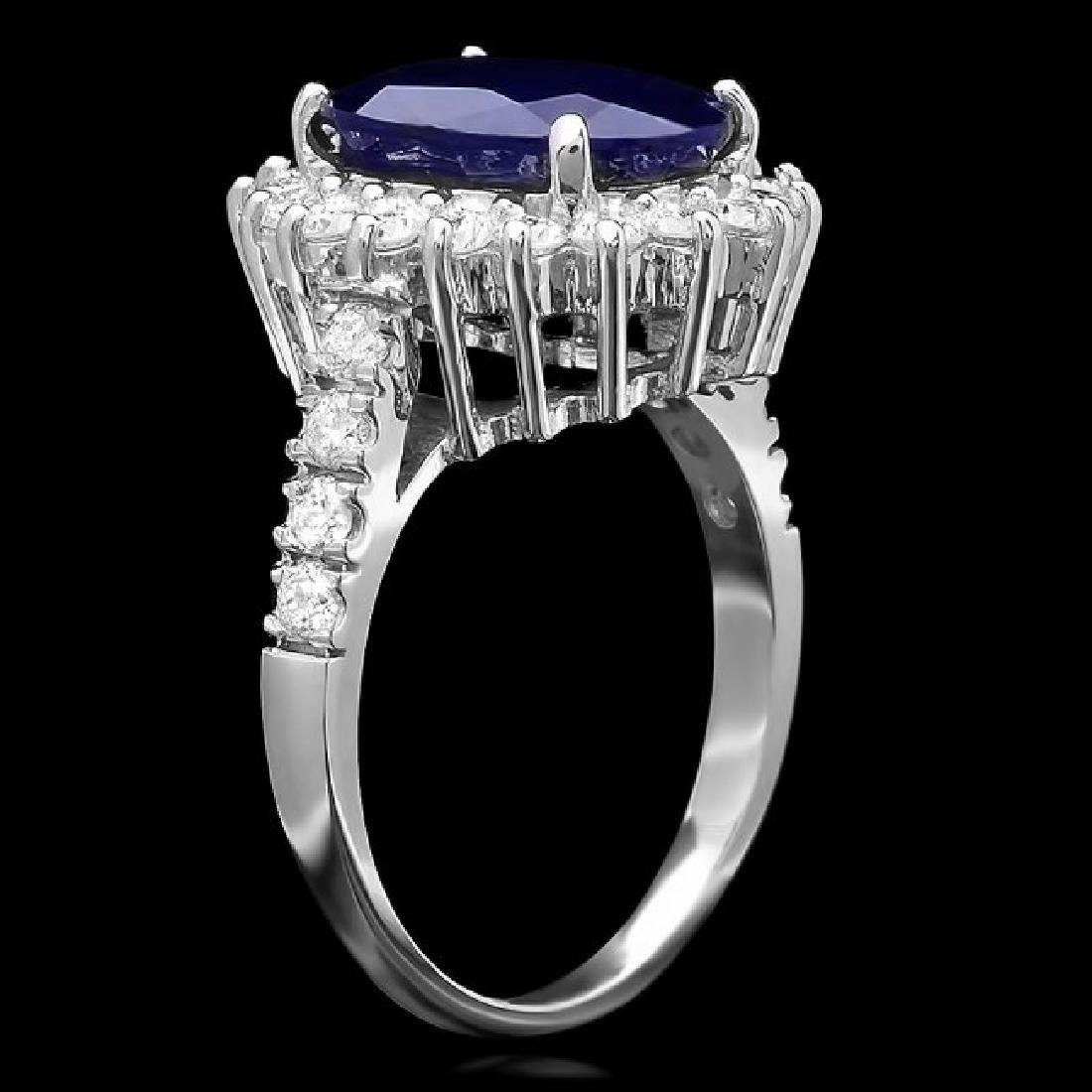 14k Gold 5.00ct Sapphire 1.00ct Diamond Ring - 2