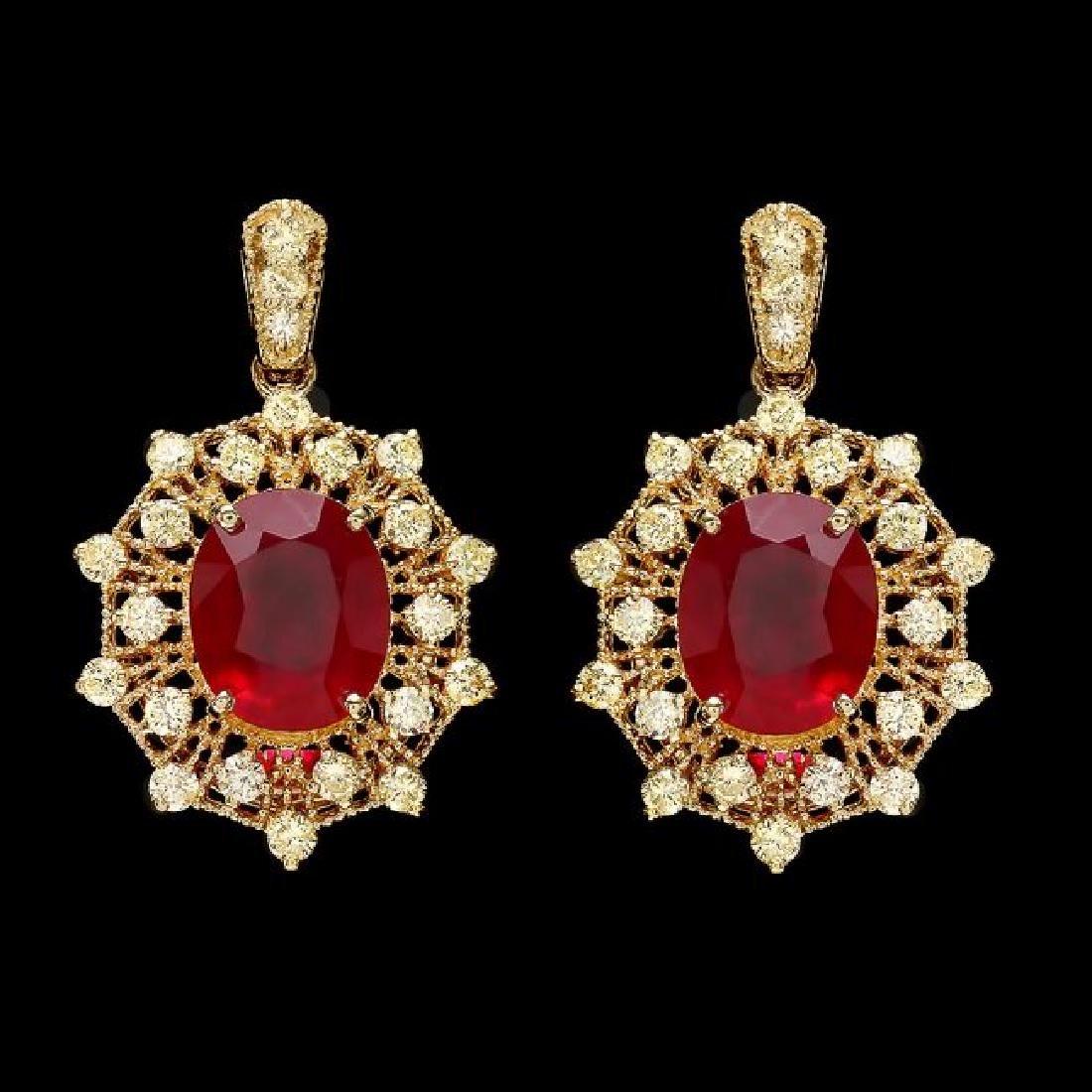 14k Gold 11.00ct Ruby 2.00ct Diamond Earrings - 2