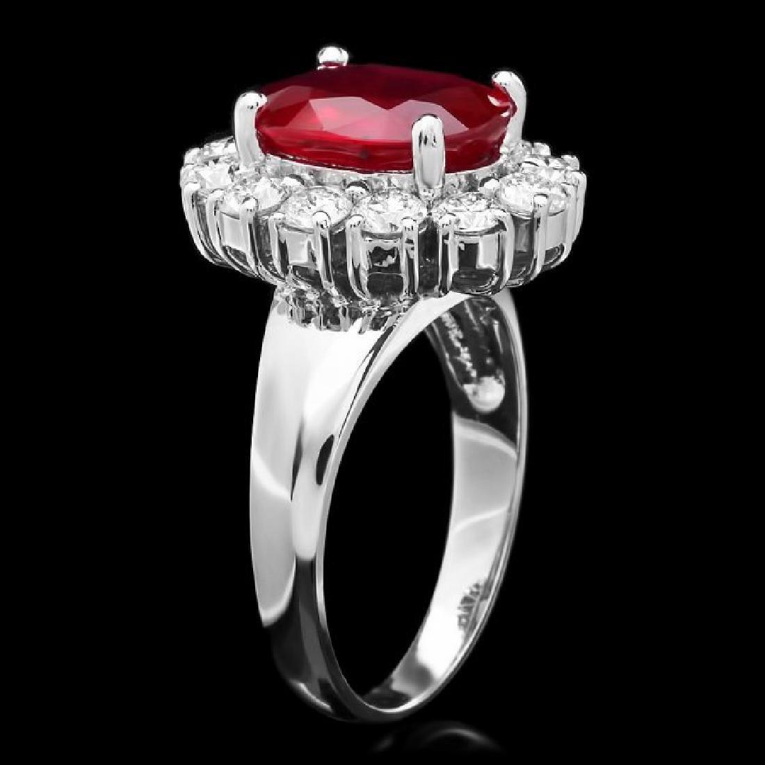 14k White Gold 4.30ct Ruby 1.40ct Diamond Ring - 2