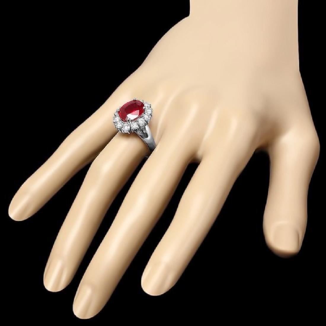 14k White Gold 4.30ct Ruby 1.40ct Diamond Ring - 3
