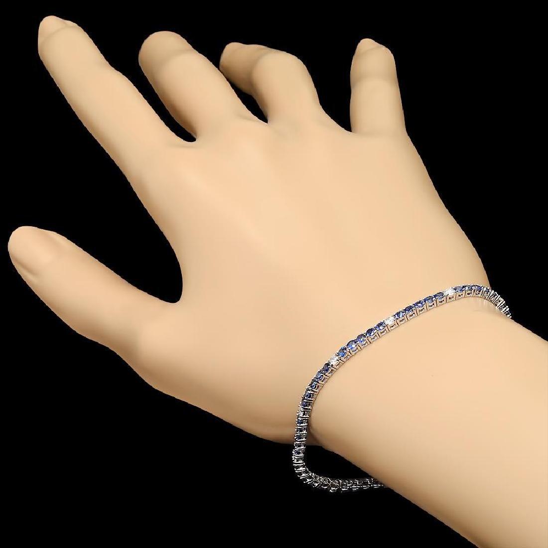 14k White Gold 3.42ct Sapphire 0.71ct Diamond Bracelet - 3