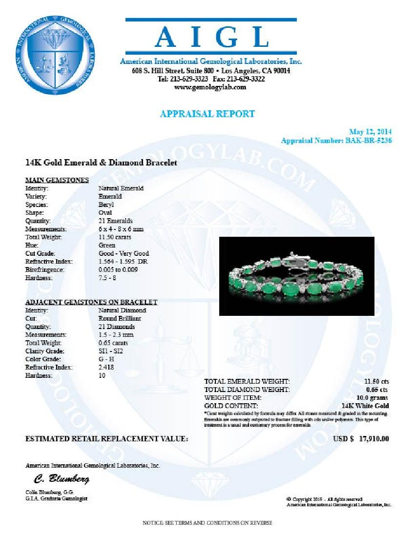 14k Gold 11.50ct Emerald 0.65ct Diamond Bracelet - 4