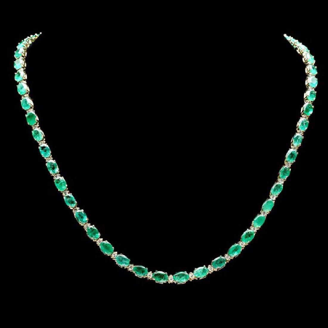 14k Gold 23ct Emerald 1.55ct Diamond Necklace
