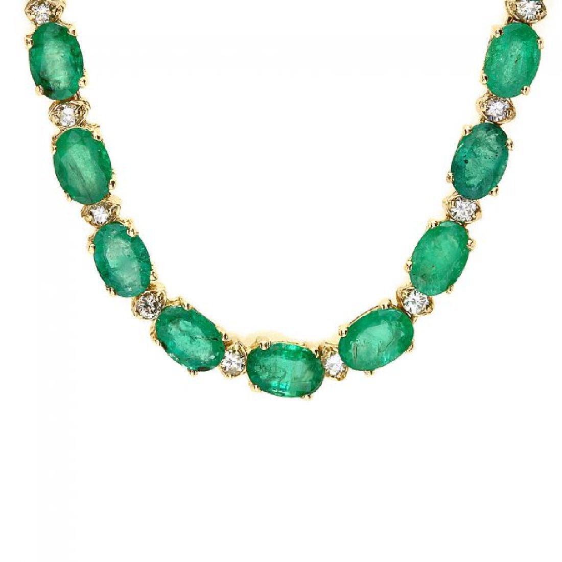 14k Gold 23ct Emerald 1.55ct Diamond Necklace - 2