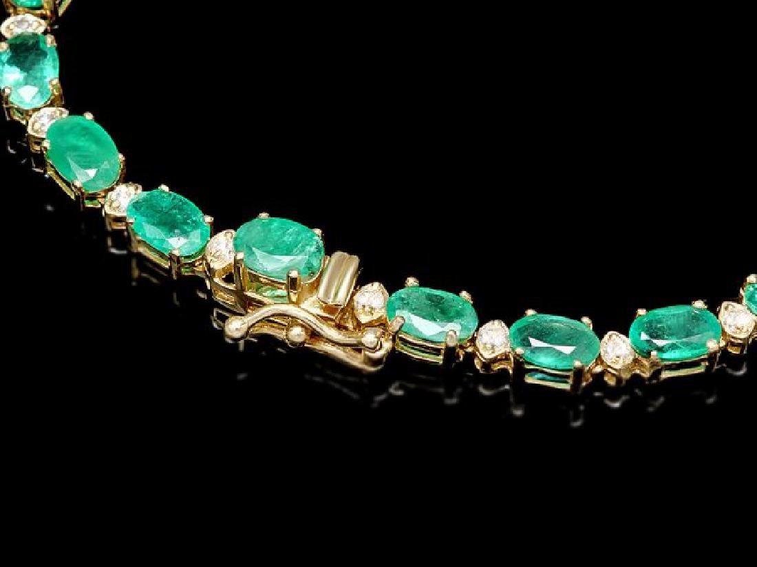 14k Gold 23ct Emerald 1.55ct Diamond Necklace - 3