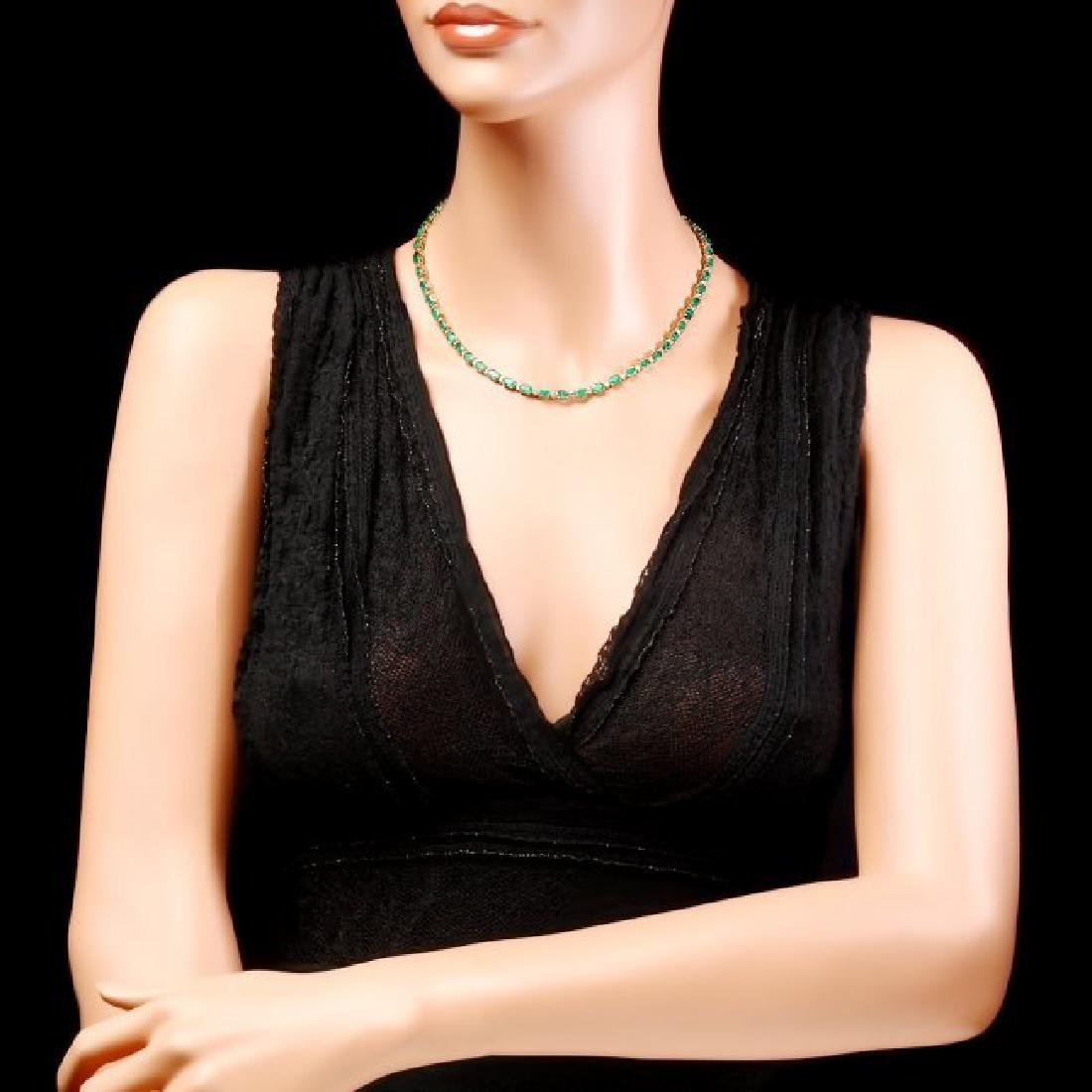 14k Gold 23ct Emerald 1.55ct Diamond Necklace - 4