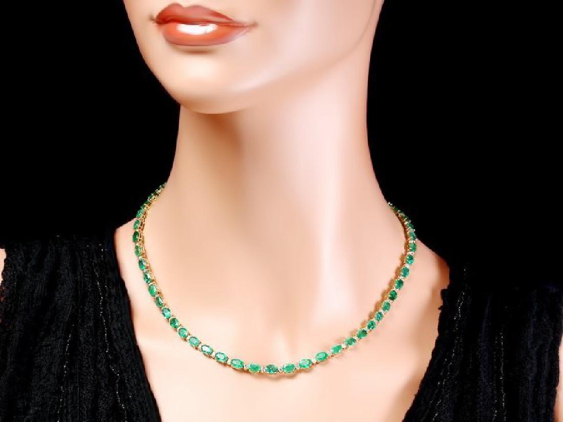 14k Gold 23ct Emerald 1.55ct Diamond Necklace - 5