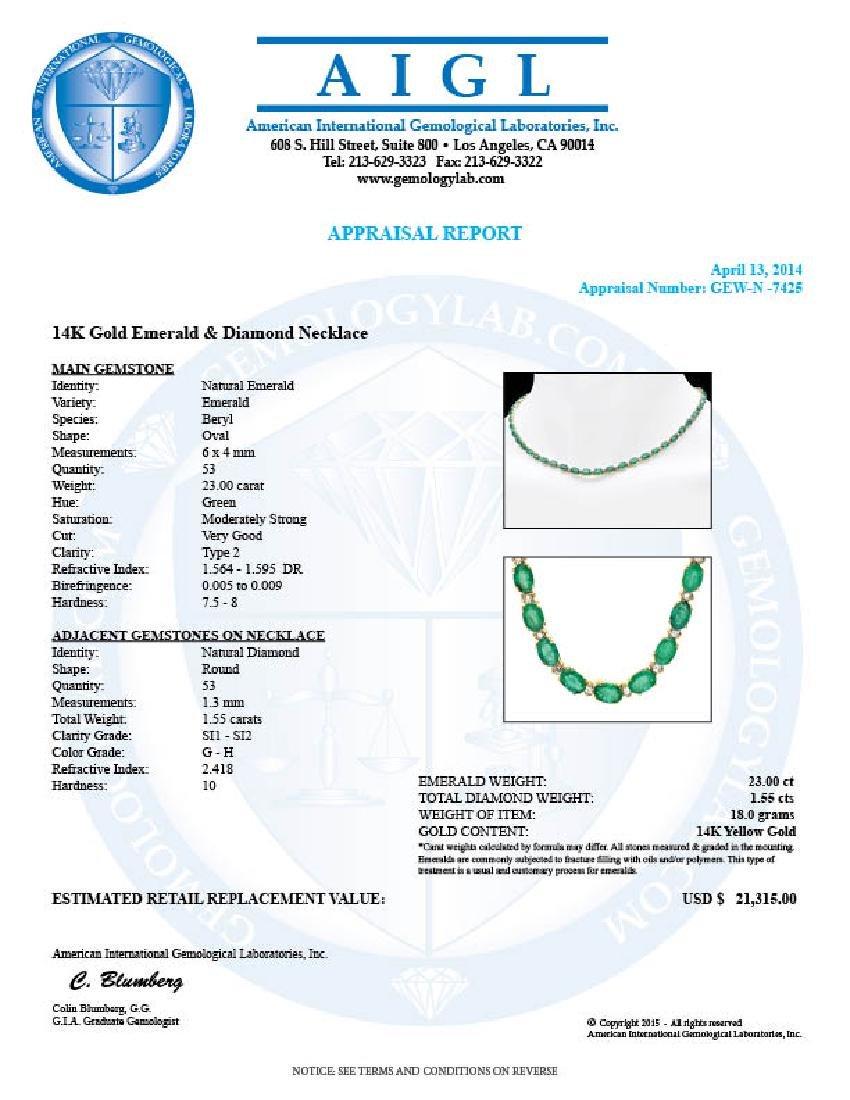 14k Gold 23ct Emerald 1.55ct Diamond Necklace - 7