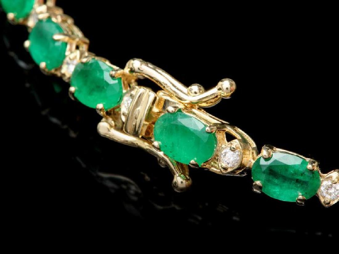 14k Gold 11ct Emerald .60ct Diamond Bracelet - 3