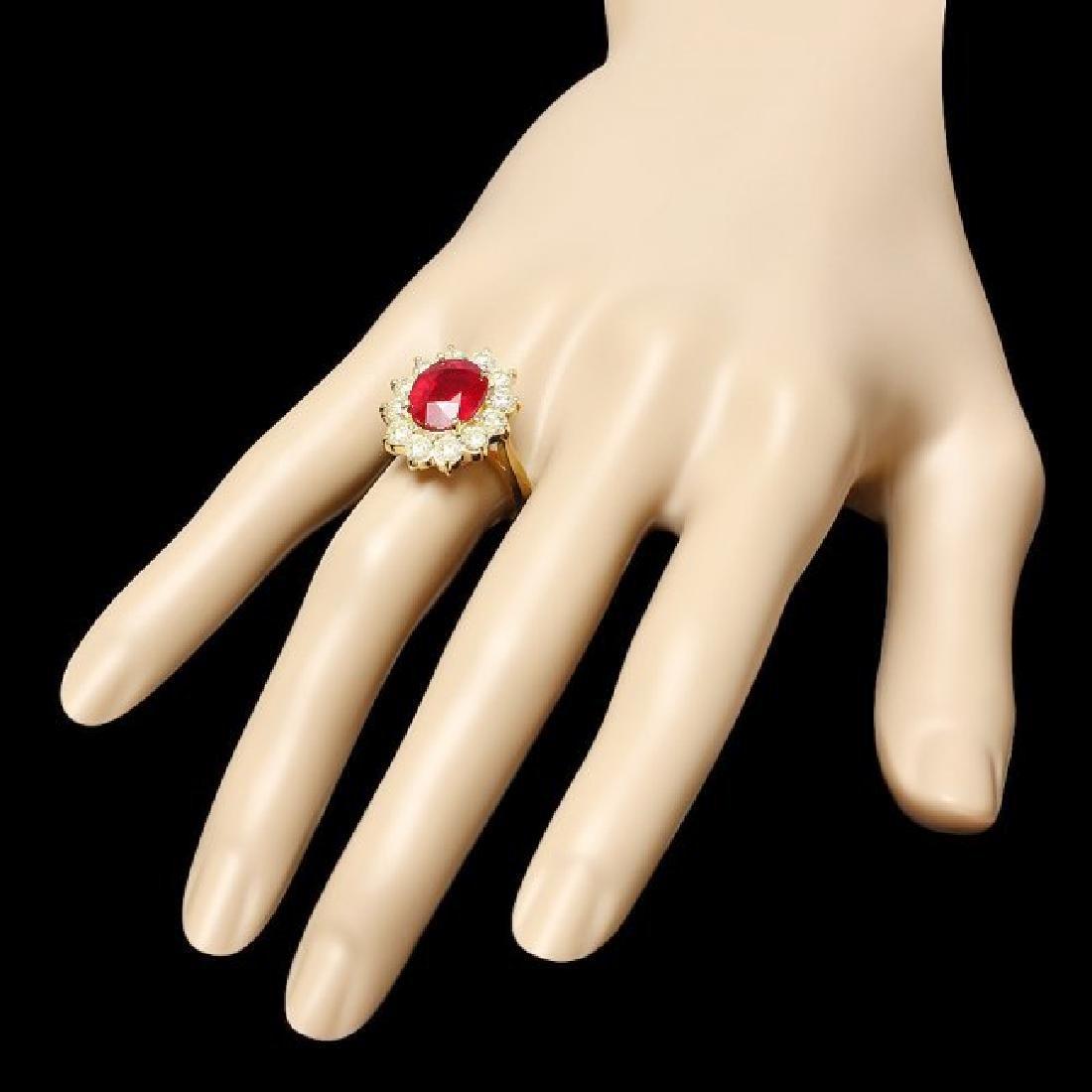 14k Yellow Gold 5.00ct Ruby 2.00ct Diamond Ring - 3