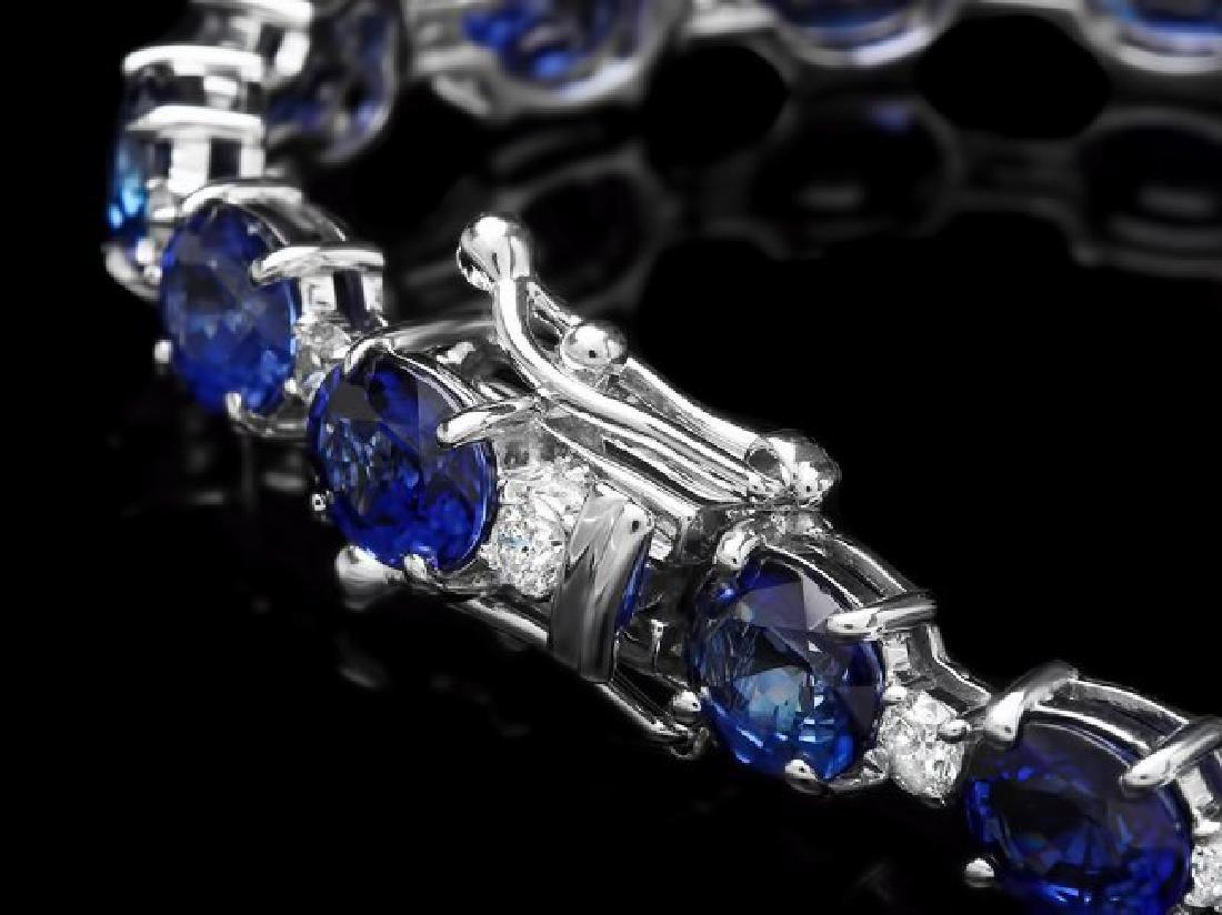 14k Gold 16.00ct Sapphire 1.20ct Diamond Bracelet - 2