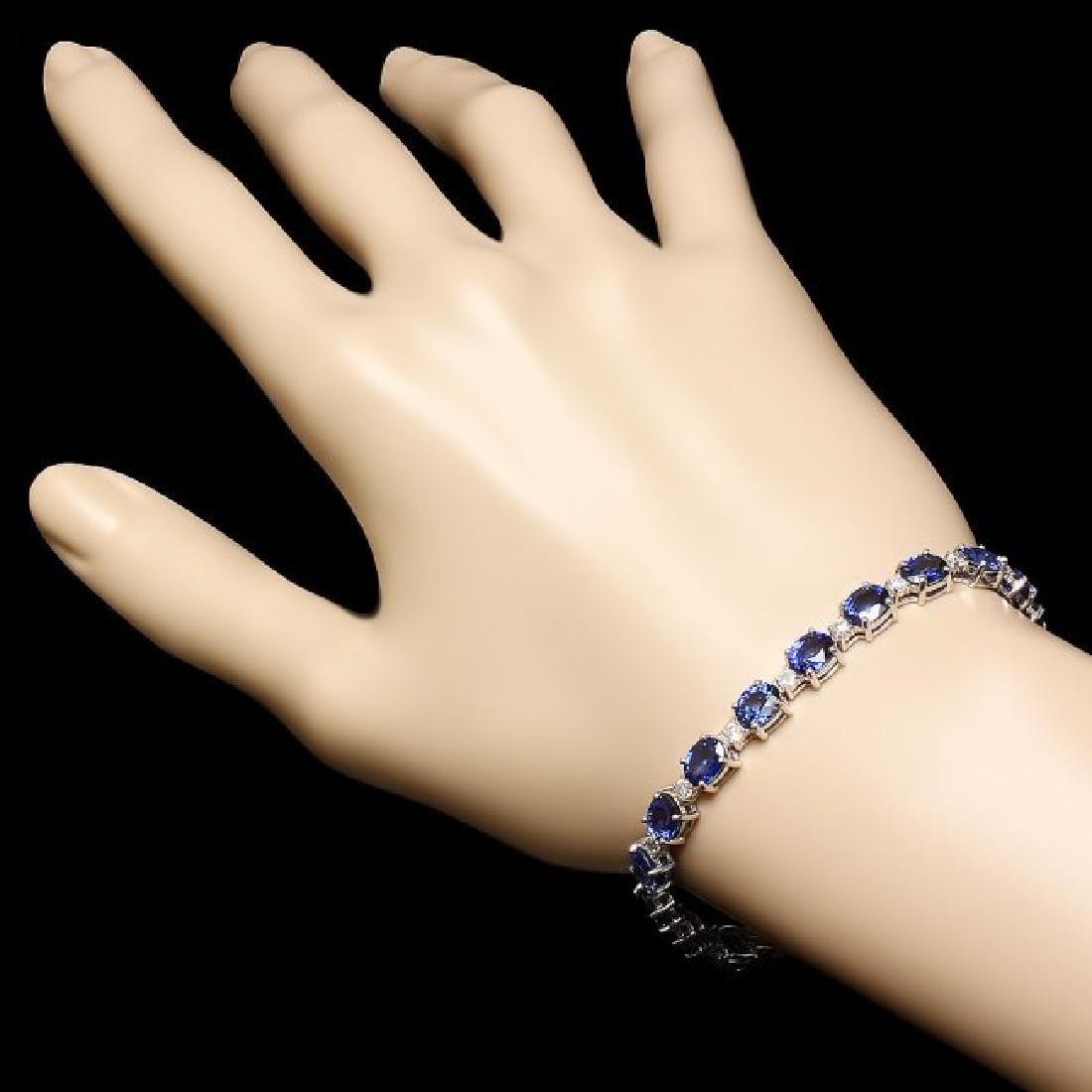 14k Gold 16.00ct Sapphire 1.20ct Diamond Bracelet - 3