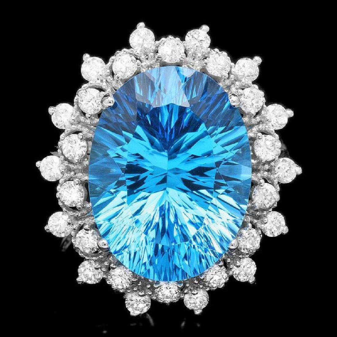 14k White Gold 11.00ct Topaz 0.80ct Diamond Ring