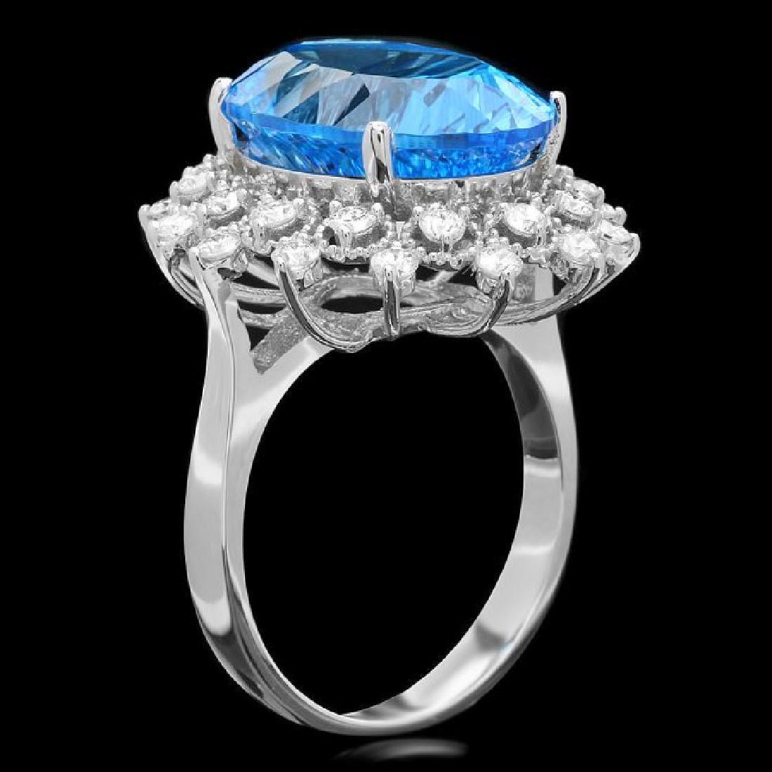 14k White Gold 11.00ct Topaz 0.80ct Diamond Ring - 2