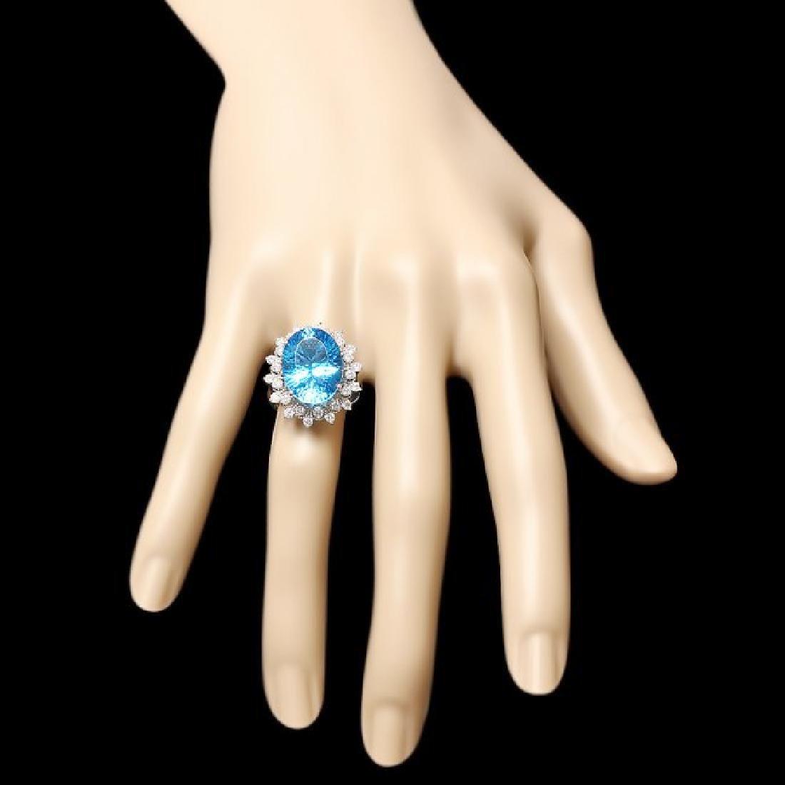 14k White Gold 11.00ct Topaz 0.80ct Diamond Ring - 3
