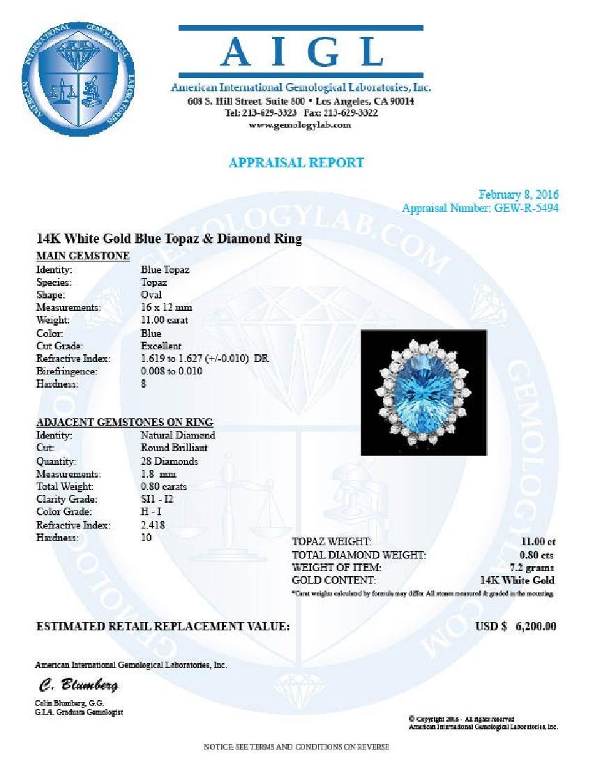 14k White Gold 11.00ct Topaz 0.80ct Diamond Ring - 4