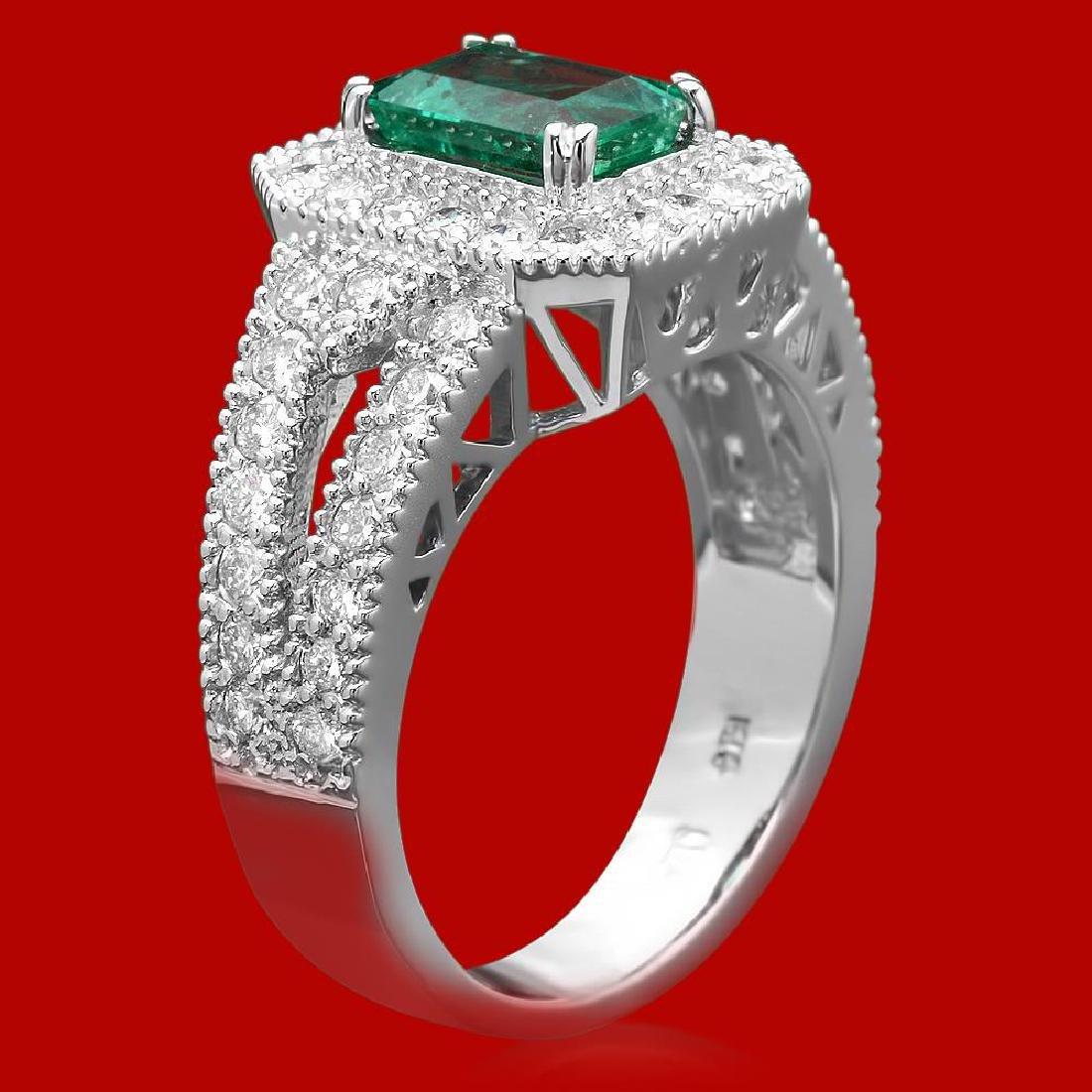 14k Gold 1.17ct Emerald 1.15ct Diamond Ring - 2
